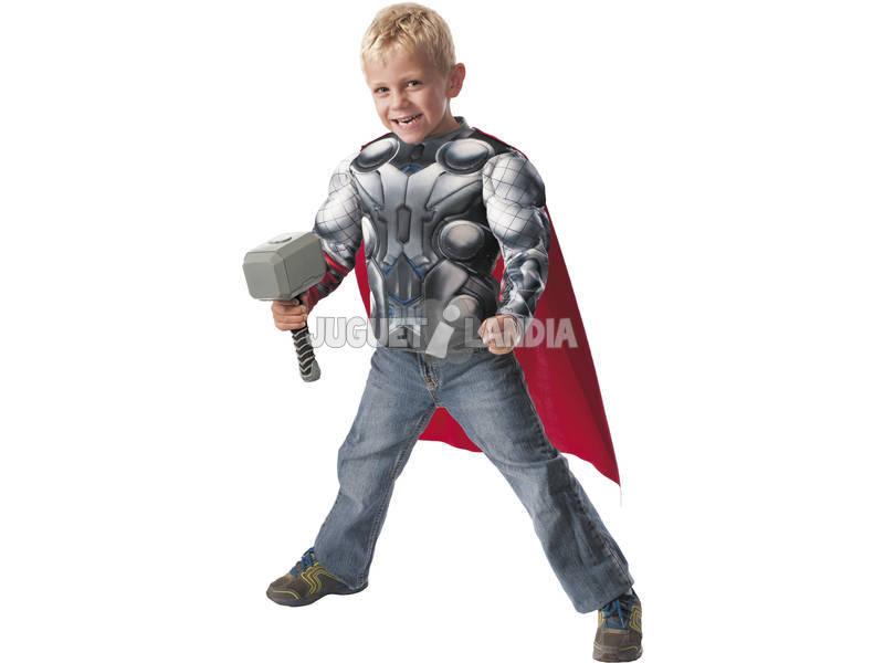 Disfarce de criança Thor Av2 Musculos e Martelo Tamanho M Rubies 31484