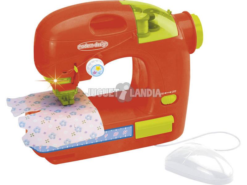 Macchina da cucire rossa con mouse e luce