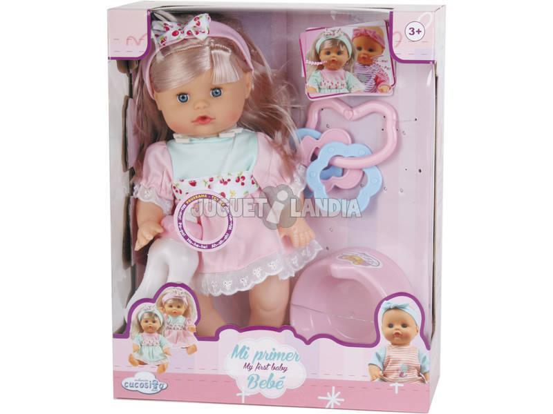 Boneca Sotido bebé Menina com Bacio e Acessórios 30x14cm