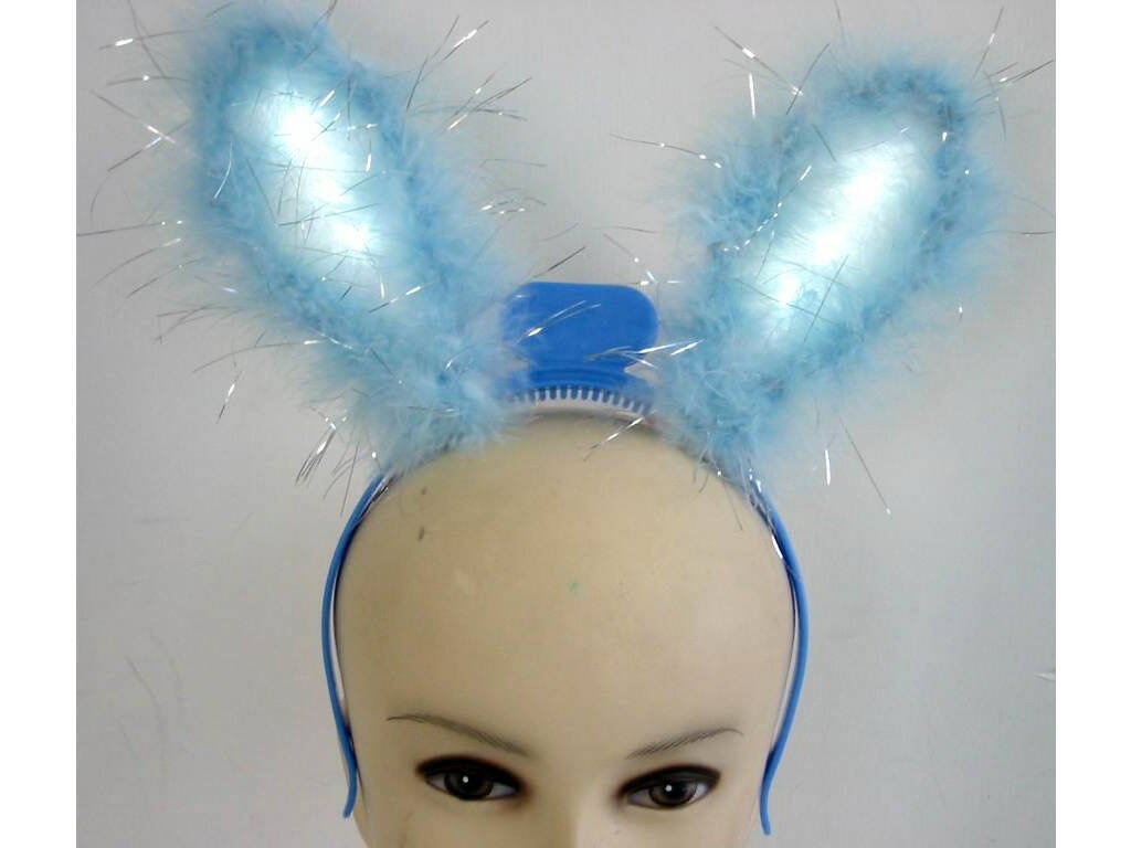 Diadema Orelhas Azuis Coelhinha com Luz