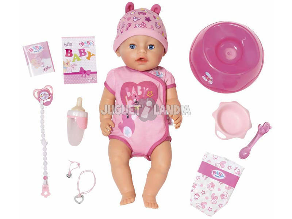 Boneca Interativa Baby Born Menina Olhos Azuis 40 cm. Bandai 815793