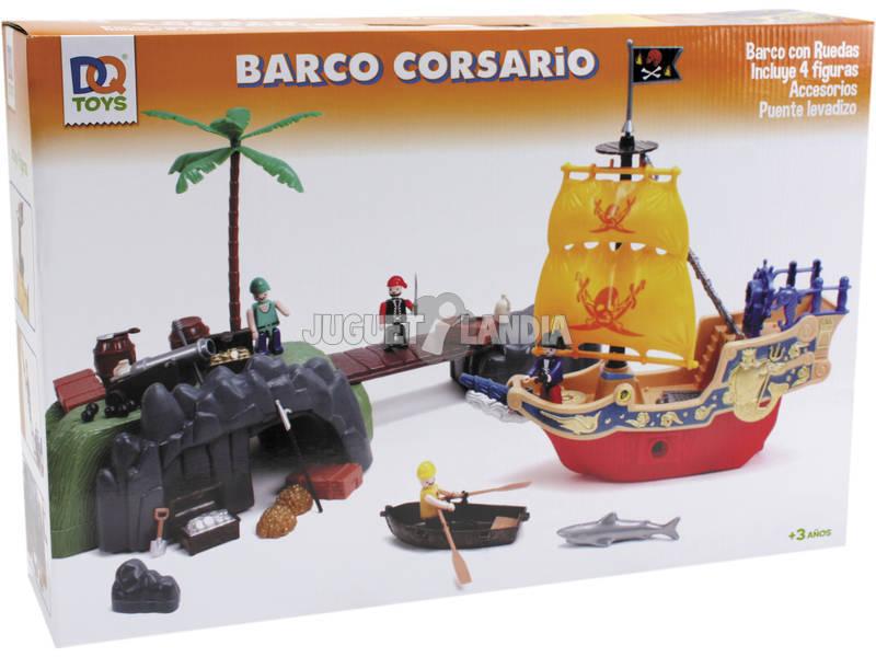 Barca Pirata Con Statuette E Ponte Levatoio