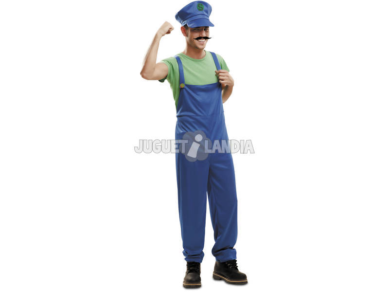 Disfarce/Fantasia Homem L Super Plumber Verde com Boné