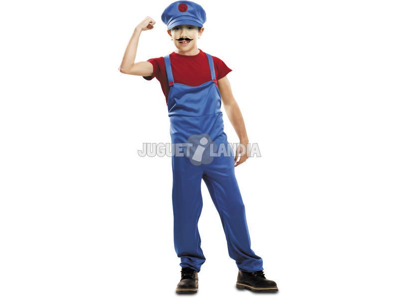 Disfraz Niño M Super Plumber Rojo