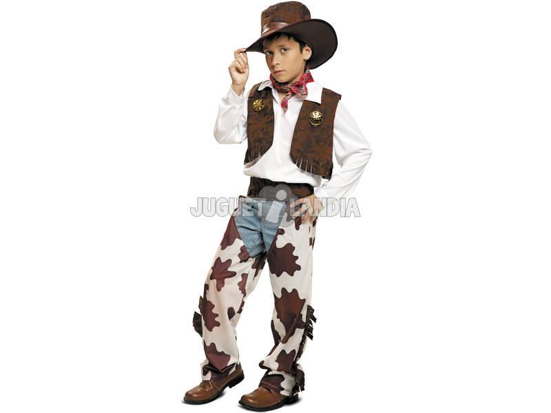 Disfarce/Fantasia Menino L Vaqueiro branco e castanho com Chapéu
