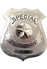 Placa Policía de Metal 7 x 6 cm.