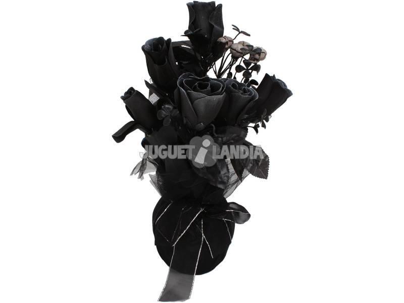 Jarron con rosas negras y calaveras