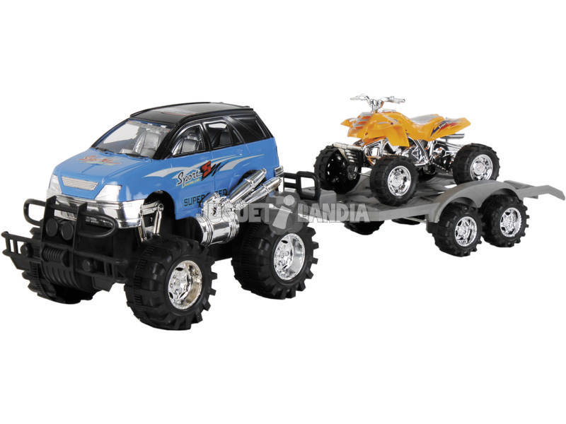 Automobile 22 cm 4x4 Con Rimorchio + Quad