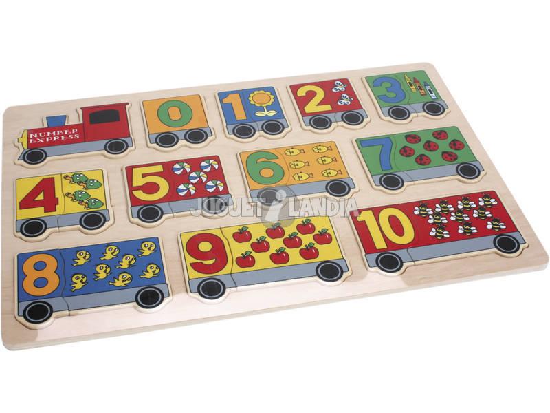 Puzzle bois train numéros