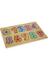Puzzle un bois des nombres multicolore 0-9