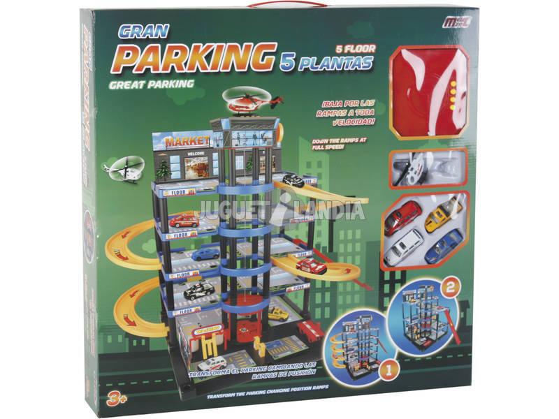 Parking 5 Altezze Trasformabile 4 Auto e 1 Elicottero 50x55x90 cm