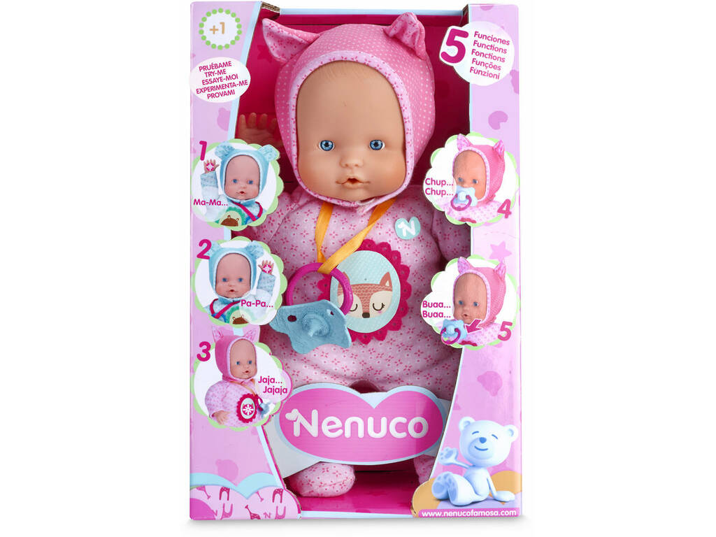 Bambola Nenuco Soft 5 Funzioni Rosa 28 cm. Famosa 700014781