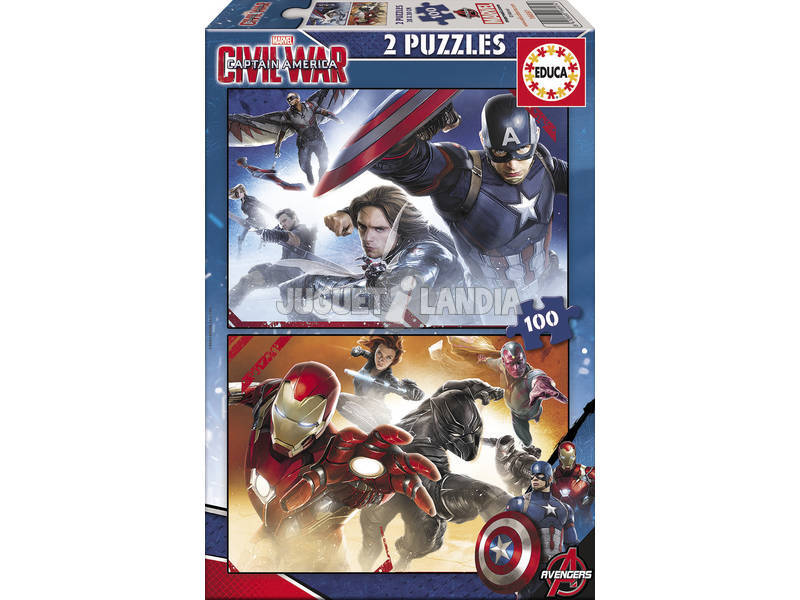 Puzzle Junior 2X100 Capitán América: Civil War 40x28 cm EDUCA 16697