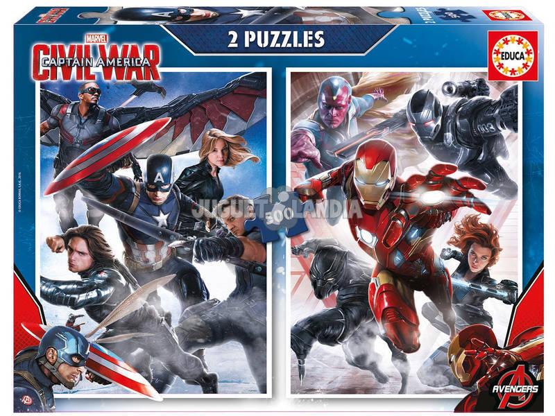 Puzzle 2X500 Capitão América: Civil War