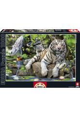 Puzzle 1000 Tigres Blancs du Bengale