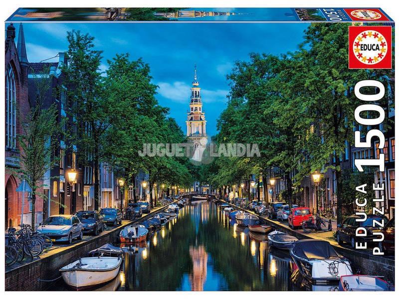 Puzzle 1500 Un canale di Amsterdam al crepuscolo Educa 16767