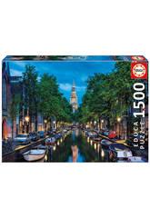Puzzle 1500 Es Wird Dunkel Im Kanal, Amsterdam Educa 16767