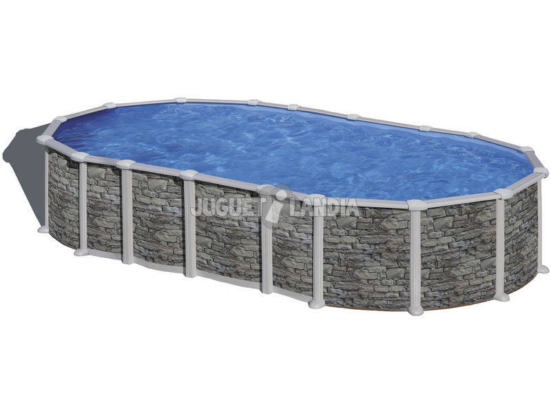 Piscina Oval Pedra Imitação Santorini 610x375x132cm Gre KITPROV6188PO