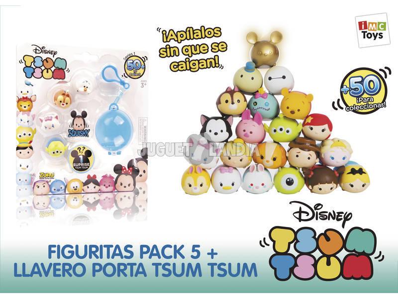 Disney Tsum-Tsum 5 Figure + 1 Portachiavi
