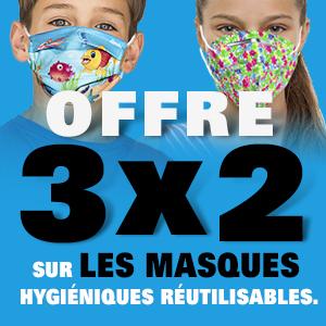 Offre 3x2 en masques hygiéniques