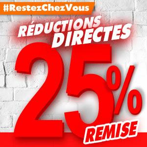 #RestezChezVous Réductions directes de 10% à 25% sur une sélection d'articles.