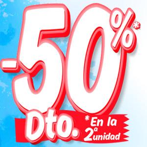 50% descuento 2ª unidad